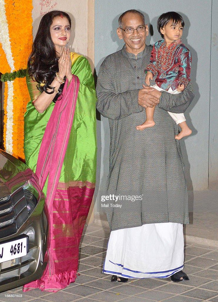 Veteran actress Rekha spotted at the mehndi ceremony of actress Vidya Balan held in Mumbai on December 12 2012