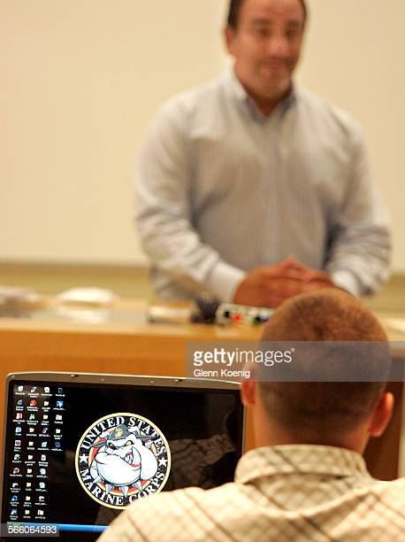 WOOD CA– AUGUST 6 2008 Veteran Andy Chavez Jr had a USMC logo on his computer while listening to Ed Ceja CEO Digital International Corp teach a...