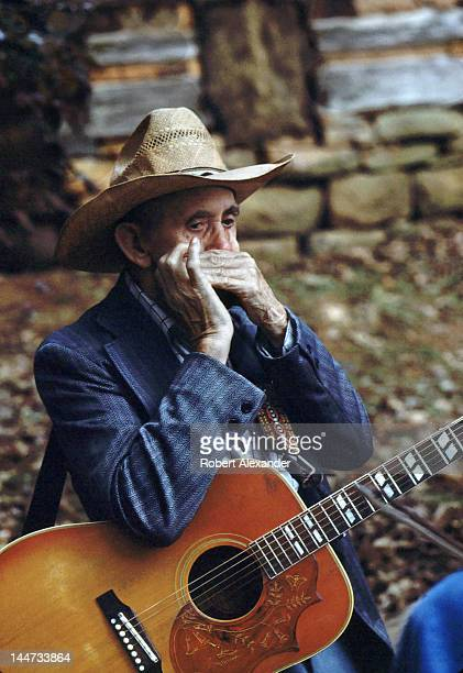 A veteran Appalachian musician rehearses before taking the stage at the annual Tennessee Fall Homecoming at the Museum of Appalachia in Norris...