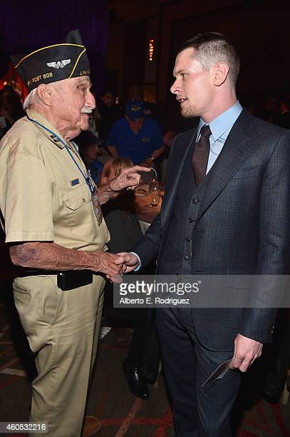 Veteran Arthur Sherman and actor Jack O'Connell attend the after party for the premiere of Universal Studios' Unbroken at on December 15 2014 in...