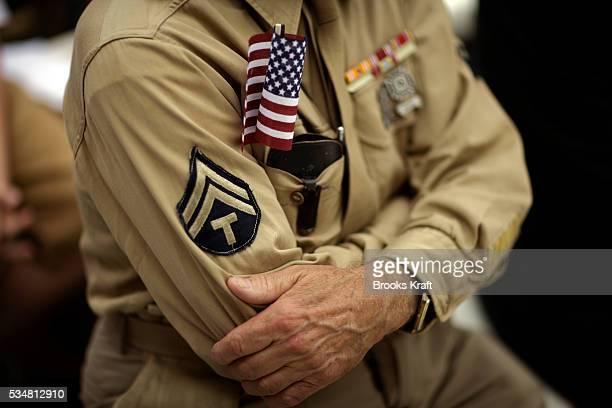 A veteran at a ceremony commemorating Memorial Day at Arlington National Cemetery in Arlington Virginia