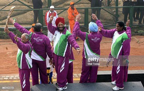 Veteran athletes PT Usha Milkha Singh and other sports persons at the tableau of Sports Ministry on Commonwealth Games 2010 during the 61st Republic...