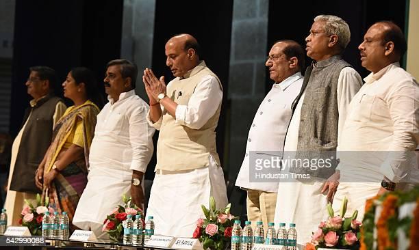 Veteran BJP leader Mahesh Sharma Delhi BJP Secretary Rekha Gupta Delhi BJP President Satish Upadhyay Union Home Minister Rajnath Singh Veteran BJP...