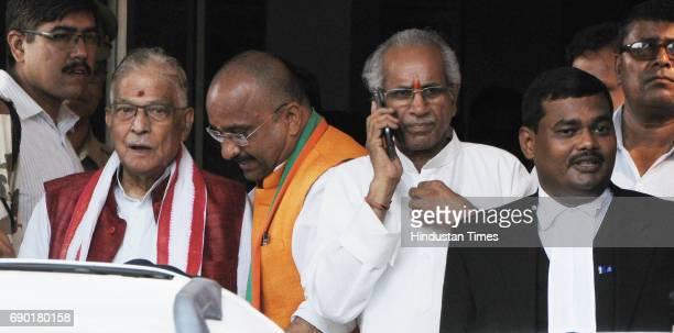 Veteran BJP leader MM Joshi after getting bail in Ayodhya Ram MandirBabri Masjid Demolition case at CBI court on May 30 2017 in Lucknow India Senior...