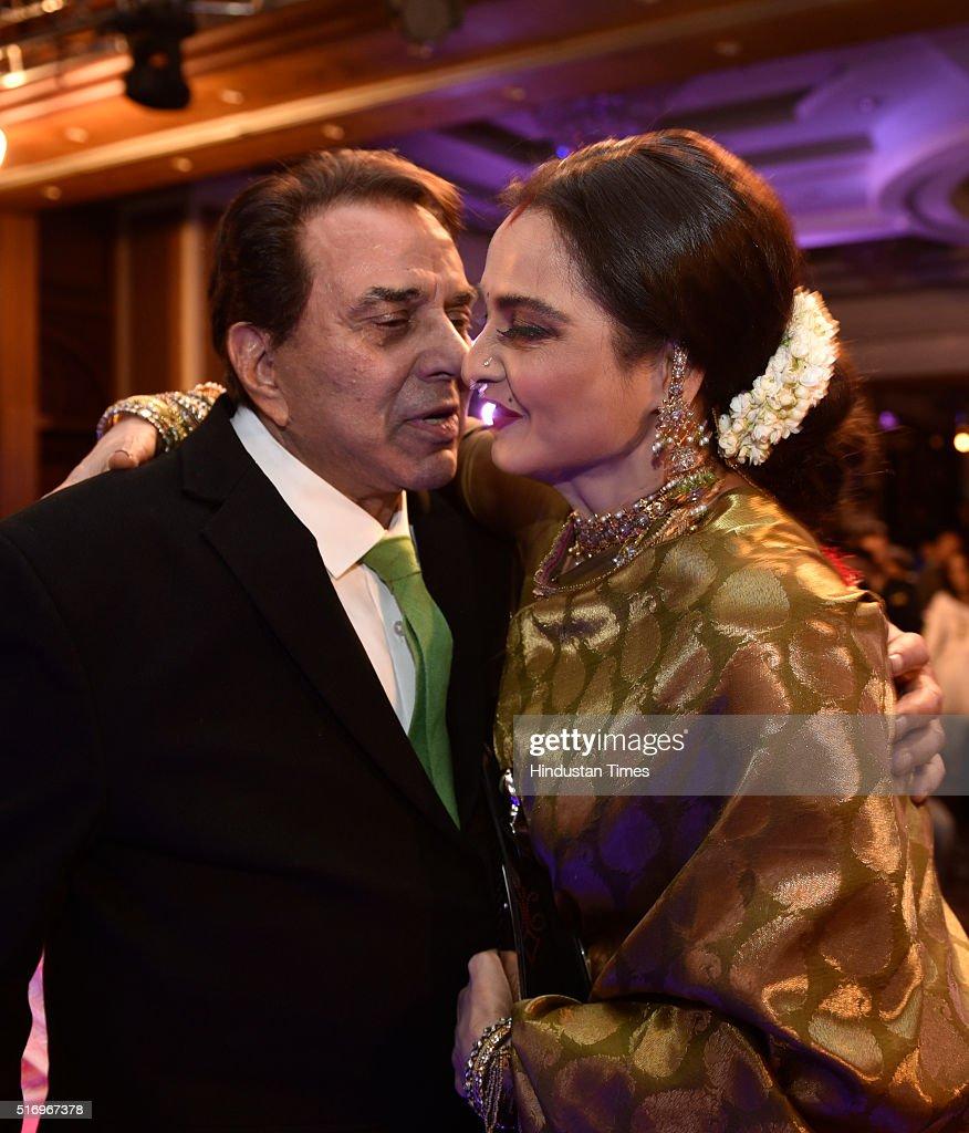 Veteran Bollywood actors Dharmendra and Rekha during Hindustan Times Most Stylish Awards 2016 at Taj Lands End Bandra on March 20 2016 in Mumbai India