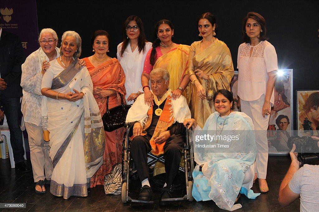 Veteran Bollywood actresses Nafisa Ali Waheeda Rehman Asha Pareekh Zeenat Aman Shabana Azmi Rekha Neetu Singh Kapoor and Supriya Pathak pose for a...