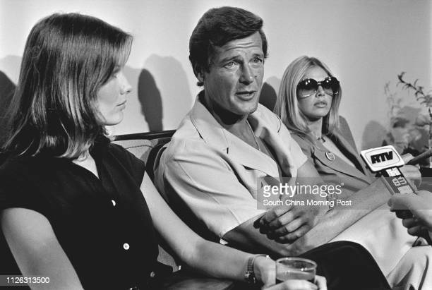 """Veteran British actor Roger Moore at a press conference in 1974, telling the press of his distaste for movies featuring pornography and """"blood, guts..."""