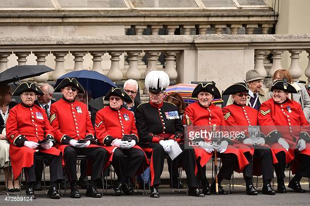 Veteran British servicemen Chelsea Pensioners wait for the start of the VE Day service of remembrance at the Cenotaph on Whitehall in London on May 8...