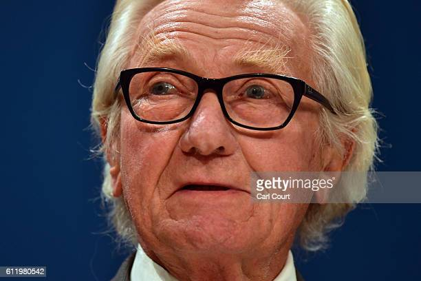 Veteran Conservative Party politician Michael Heseltine delivers a speech on the first day of the Conservative Party Conference 2016 at the ICC...