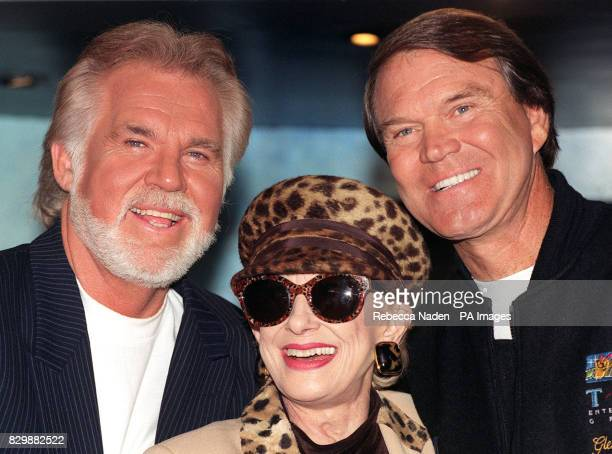 Veteran Country and Western singers Kenny Rogers, Tammy Wynette and Glen Campbell in central London this afternoon for a news cinference to launch...