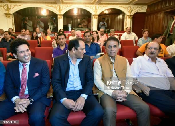 Veteran cricketers Sachin Tendulkar Mohammad Azharuddin Sunil Gavaskar and Ajit Wadekar during the launch of senior journalist Rajdeep Sardesai' book...