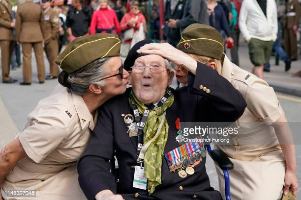 Veteran David Edwards attends a commemoration service on the 75th anniversary of the DDay landings on June 6 2019 in Arromanches Les Bains France...
