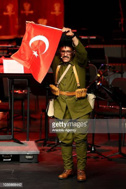 Veteran Emrullah Dag reads a poem during the Veterans Day Ceremony at Bestepe People's Convention and Culture Center in Ankara Turkey on September 19...