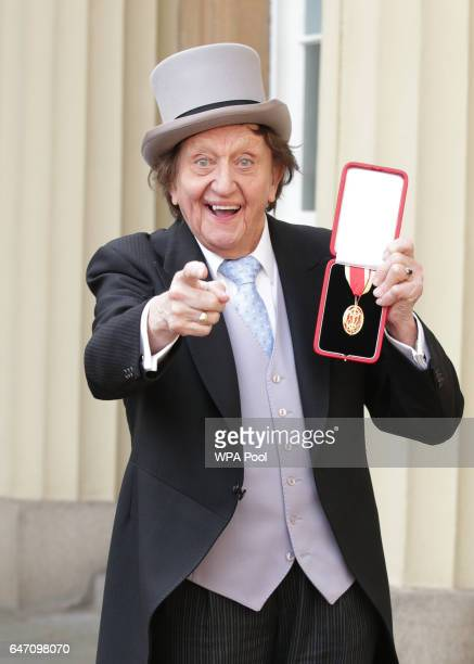 Veteran entertainer Sir Ken Dodd at Buckingham Palace after he was made a Knight Bachelor of the British Empire by the Duke of Cambridge in...