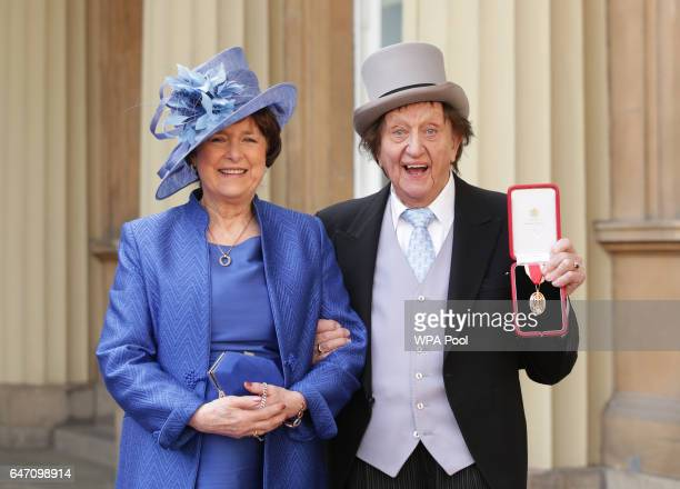 Veteran entertainer Sir Ken Dodd with his partner Anne Jones at Buckingham Palace after he was made a Knight Bachelor of the British Empire by the...