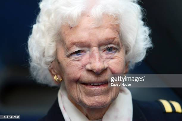 RAF veteran featured in Spitfire Mary Ellis attends the World Premiere of Spitfire at The Curzon Mayfair on July 9 2018 in London England