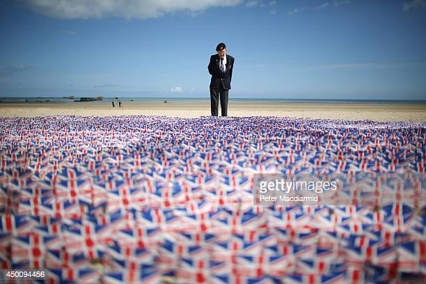 WW2 veteran Fred Holborn from the Fleet Air Arm looks at British Legion Union flags carrying thank you messages planted in the sand on Gold beach on...