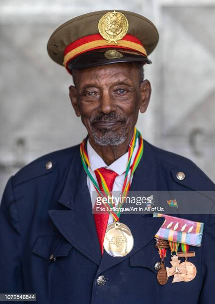 Veteran from the italoethiopian war in army uniform Addis Abeba region Addis Ababa Ethiopia on October 20 2018 in Addis Ababa Ethiopia