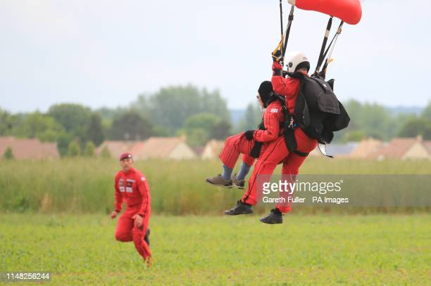 Veteran Harry Read takes part in a Commemorative Parachute Descent over Sannerville France during commemorations for the 75th anniversary of the DDay...