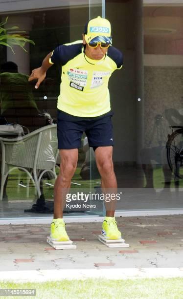 Veteran Japanese ski jumper Noriaki Kasai trains in Miyakojima Okinawa Prefecture on May 23 2019 ==Kyodo