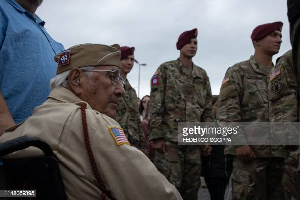 Veteran Joseph Morettini , 82nd Airborne Division 508 PI, attends a joined ceremony held in Picauville, northern France, on June 4 to commemorate the...