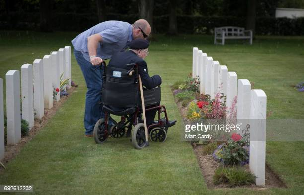 A veteran look at graves as he visits the Ranville Cemetery as they joins commemorations for the 73rd anniversary of the DDay landings on June 5 2017...