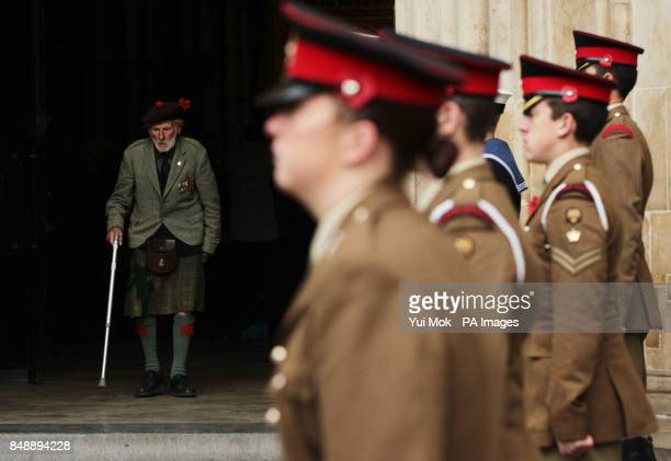 Veteran Major Peter Watson MC of the Black Watch leaving a service to mark the 70th anniversary of the Battle of El Alamein at Westminster Abbey...