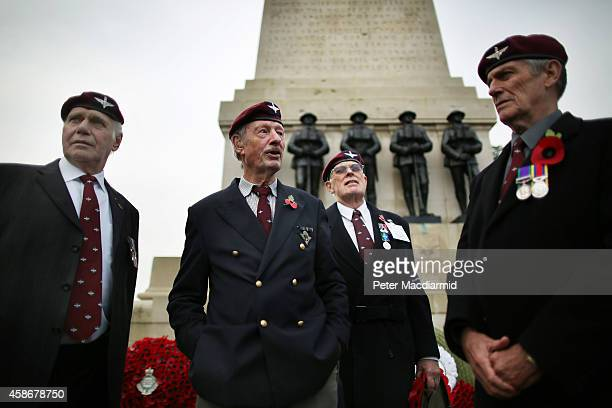 Veteran members of the Guards Parachute Company Pathfinders stand by the Guards Memorial in Horse Guards ahead of the Remembrance Sunday ceremony at...