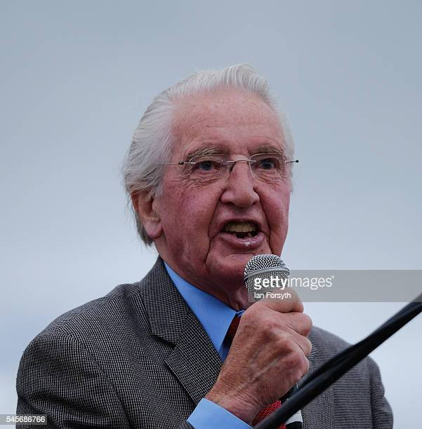 Veteran MP and former miner Dennis Skinner addresses gathered crowds during the 132nd Durham Miners Gala on July 9 2016 in Durham England More than...