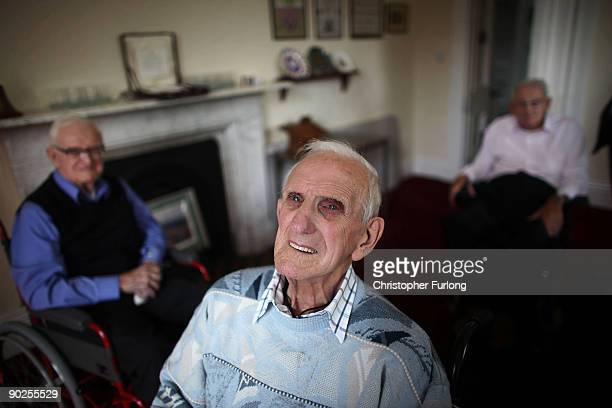 WWII veteran Norman Entwistle a resident at Broughton House exserviceman's residential home reflects with comrades Cliff Blood aged 89 and Robert...