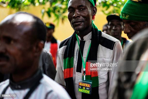 A veteran of the Nigerian civil war looks on while being received by political activist and leader of the Indigenous People of Biafra movement Nnamdi...