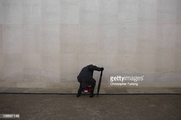 A veteran pays his respects and lays a wreath at the National Memorial Arboretum on Armstice day on November 11 2010 in Lichfield United Kingdom The...