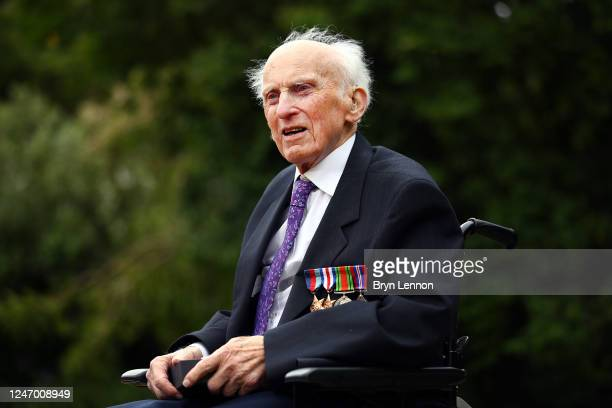 Veteran Peter Hawkins completes a 104mile staticbike cycling challenge to mark the 76th anniversary of the Normandy landings on June 06 2020 in...