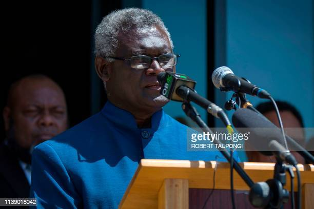 Veteran politician Manasseh Sogavare speaks at a press conference on the stairs of the Parliament House in Honiara Solomons Islands on April 24 2019...