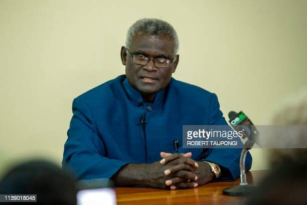 Veteran politician Manasseh Sogavare speaks at a press conference inside the Parliament House in Honiara Solomons Islands on April 24 2019 The...