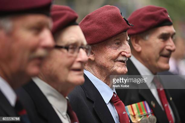 A veteran poses for a photograph after the Remembrance Day Service held at the Cenotaph Martin Place on November 11 2016 in Sydney Australia This...