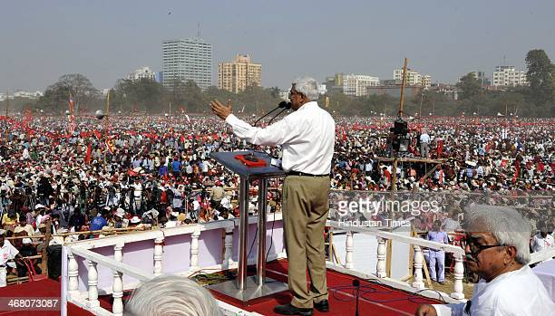 M veteran Prakash Karat during the Left Front public rally to counter Trinamool Congress at Brigade Parade Ground on February 9 2014 in kolkata India...