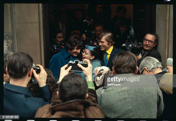 Veteran showbiz performer Judy Garland 46 leaves Chelsea register office after marrying her fifth husband35yearold New York businessman Mickey Deans...