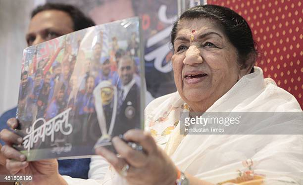 Veteran singer Lata Mangeshkar during the launch of book Champion authored by Photo Journalist Mohan Bane on July 4 2014 in Mumbai India