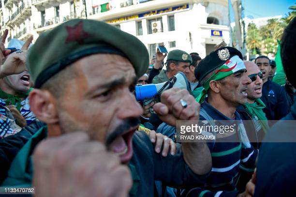 Veteran soldiers from Algeria's civil war shout slogans during a demonstration against ailing President Abdelaziz Bouteflika in the capital Algiers...