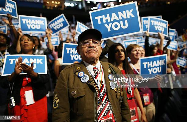 Veteran Stephen Sherman watches the program during the final day of the Democratic National Convention at Time Warner Cable Arena on September 6 2012...