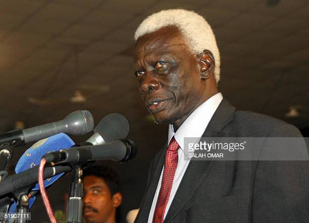 Veteran Sudanese politician and lawyer who was vice president in the 1970s Abel Alier addresses the ruling National Congress party in Khartoum 01...