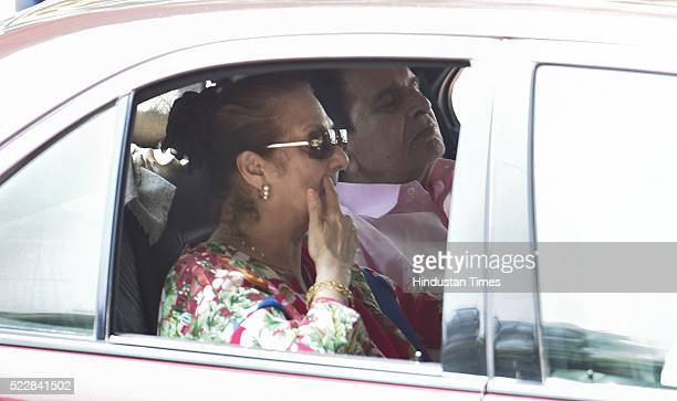 Veteran superstar Dilip Kumar with wife Saira Bano coming out of Lilavati Hospital after a weeklong stay due to respiratory problem on April 21 2016...