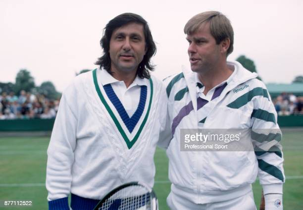 Veteran tennis players Ilie Nastase of Romania and Roscoe Tanner of the USA photographed during the Wimbledon Lawn Tennis Championships at the All...