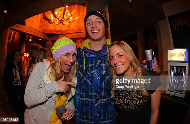 Veteran USA Olympic Snowboarder Getchen Bleiler poses for a photo with newly annouced USA Olympic Halfpipe Snowboarders Greg Bretz and Elena Hight at...