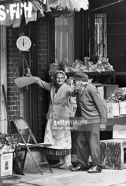 Veteran vendors Martha and Jo Leo engage in a serious discussion on Salem Street in Boston's North End on Sept 14 1977 'Go on upstairs Jo'