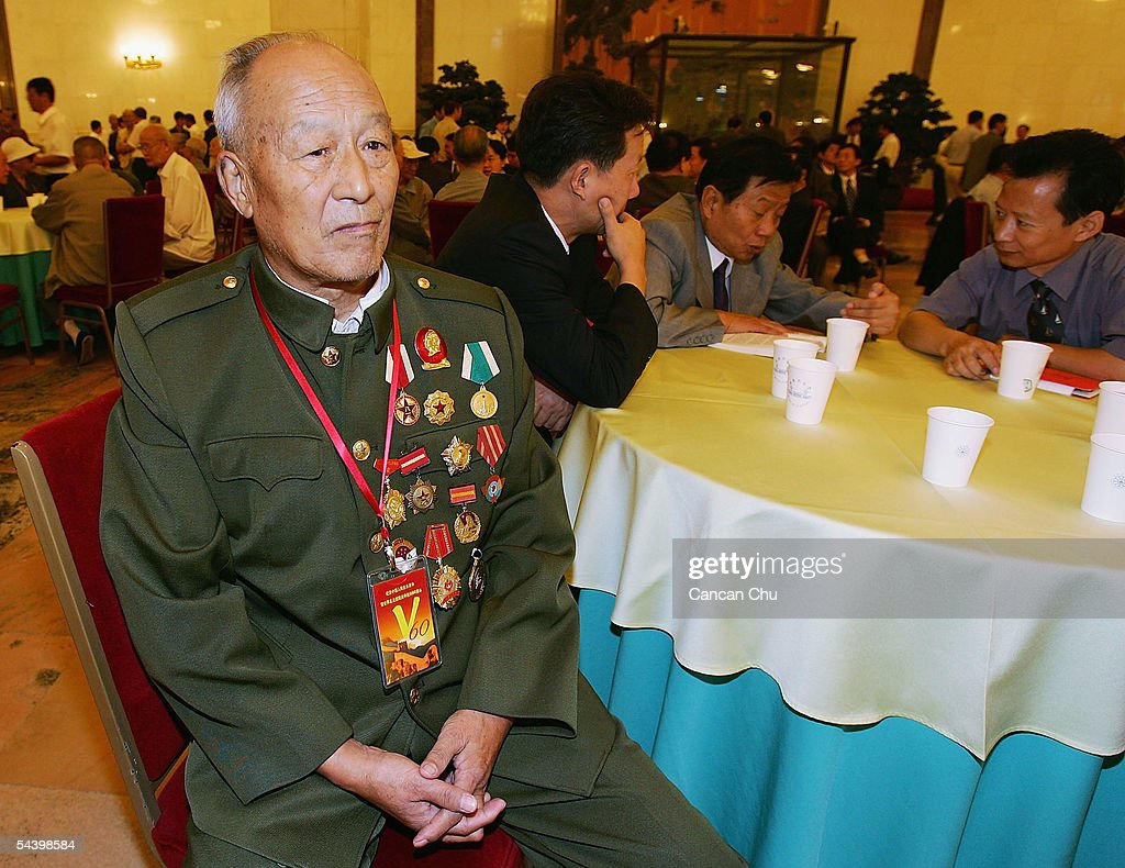 Veteran Wang Wei, 83, waits for a meeting marking the 60th anniversary of the victory of China's Resistance War Against Japanese Aggression on September 3, 2005 in Beijing, China.