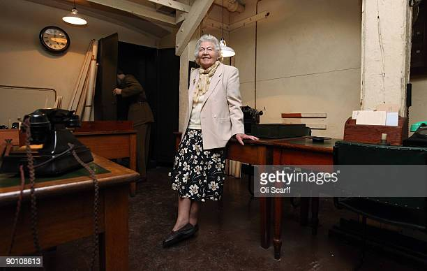 Veteran War Room shorthand typist Myra Collyer sits in the Cabinet War Rooms bunker where she used to work during the second World War on August 27,...