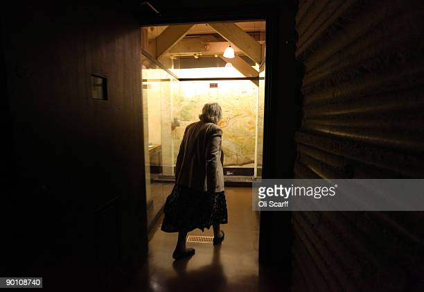 Veteran War Room shorthand typist Myra Collyer walks through the Cabinet War Rooms bunker where she used to work during the second World War on...