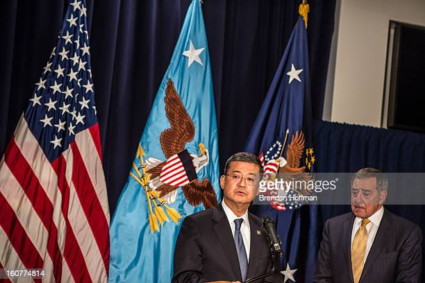 Veterans Affairs Secretary Eric Shinseki and Defense Secretary Leon Panetta make statements to the media following a meeting on February 5 2013 in...
